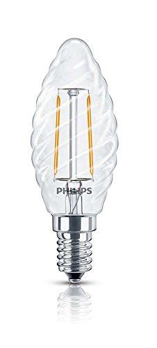 Philips Kerze–LED Leuchtmittel (Warm Weiß, Transparent, A + +)