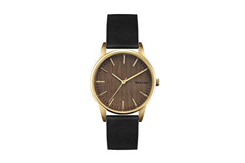 TAKE A SHOT | Armbanduhr | Polly | Zifferblatt aus Holz | Walnussholz | Holzuhr | Gold | 36mm