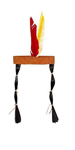 shoperama Stirnband mit Federn und Zöpfen für Indianerin-Kostüm Kostüm-Zubehör Kopfschmuck Wilder Westen