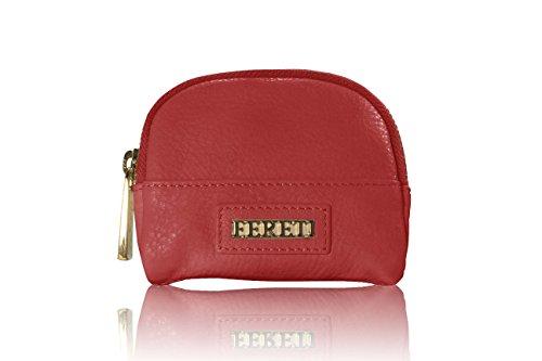 FERETI Porte monnaie Rouge coral en cuir pour femme avec fournitur or fabriqué à la main