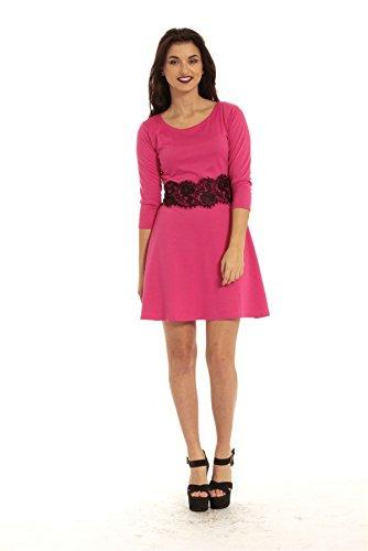 Damen Skater Kleid 3/4 Ärmel Taille mit Spitze Detail Ausgestellt Franki Skater Kleid in Übergrößen Schwarz