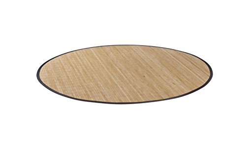 Hochwertiger Teppich aus Bambus HIGHQ rund 200 cm mit filigraner Bordüre I Holzteppich Bambusvorleger I Küchenteppich Wohnzimmerteppich I nachhaltiger Bambusteppich massiv von DE-COmmerce (Sisal-teppich, Fliesen)
