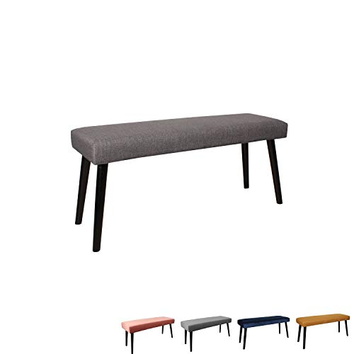 Nimara Gepolsterte Samt Sitzbank mit schwarzen Beinen | Perfekt für Esszimmer und Schlafzimmer und als Deko Bank | Erhältlich in grau, dunkelblau, rosa und Mehreren Farben | 100x35x45 (Grau (Stoff)) -