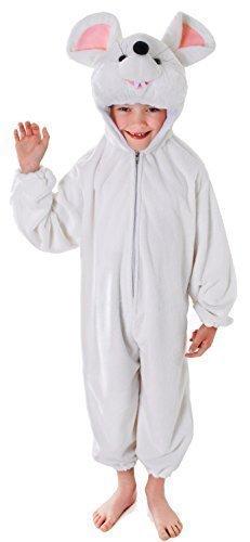 Ratte Kleid (Mädchen Jungen weiß Maus Ratte Tier Weihnachten Krippenspiel Einteiler Kostüm Kleid Outfit - Weiß, Weiß, 7-9 Years)