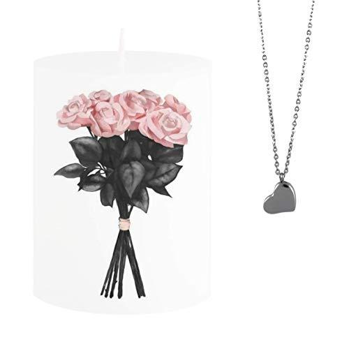 Spell SCHMUCK Kerze mit Rosenstrauss - Versteckte silbrige Halskette mit Anhänger Herz -Duftkerze Jasmine DUFT - Einzigartiges Geschenk Idee