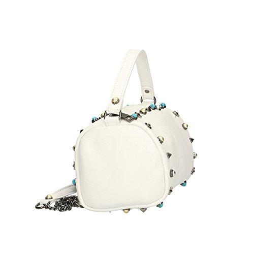 Chicca Borse Borsa a mano in pelle 18x12x12 100% Genuine Leather Bianco