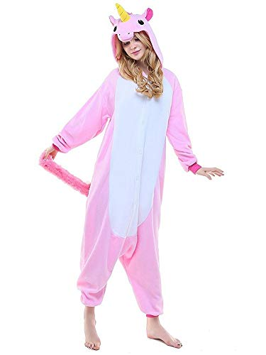 Regenboghorn Unisex Einhorn kostüme, Schlafanzug, Pyjama,für das Halloween ,Karneval und Weihnachten mit der Kapuze (L(165-175CM), Pink)