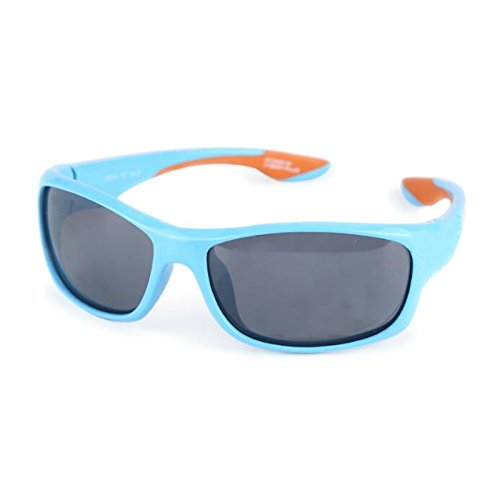 SUNGLASSES GJY Klassische quadratische Sonnenbrille, Harz weiches Material blau, UV400-Schutz polarisierte Gläser, Kinder Jungen Mädchen Kinder Spiegel (Color : #1)