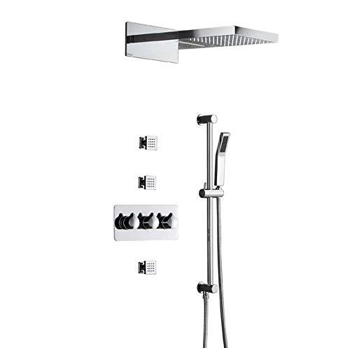 SEEKSUNG Wasserhahn Unterputz-Brausegarnitur mit Top-Brausekopf Handbrause SPA-Jet-Body-Massagegeräte Hubstange, In der Wand montiertes Bad-Duschsystem