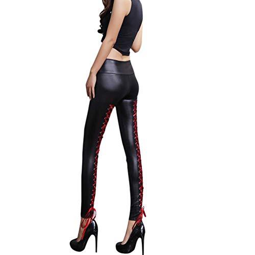 Pantalones de cuero Leggins Mujeres Pu cuero Skinny Elásticos...