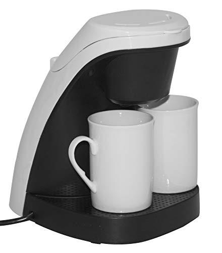 (Kaffeemaschine weiß - inkl. 2 Porzellan-Kaffeetassen + wiederverwendbarem, abwaschbaren Filter - 240ml - 450W - Maße: 19,4 x 15,6 x 21,8 cm)
