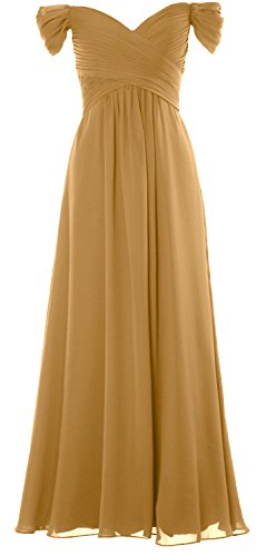 MACloth Women Off the Shoulder Long Prom Dress Chiffon Wedding Party Formal Gown gold