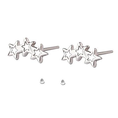 Contever 1Pair 925 Sterling Silver Stud Earrings Triple Stars
