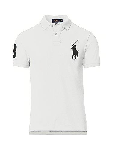 Polo-pony-shirt (RALPH LAUREN POLO HERREN POLOSHIRT BIG PONY CUSTOM FIT in verschiedenen Farben, Original, Outletware, Größe:XL, Farbe:Weiß)