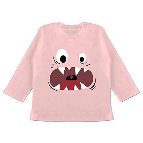 Karneval und Fasching Baby - Monster Kostüm Gesicht - 12-18 Monate - Babyrosa - BZ11 - Baby T-Shirt ()