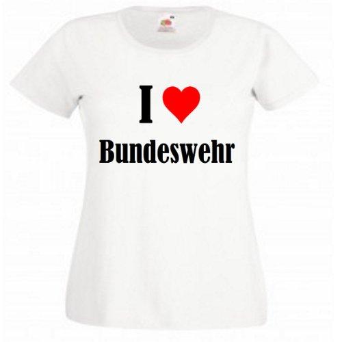 """T-Shirt """"I Love Bundeswehr"""" für Damen Herren und Kinder in Weiß Weiß"""