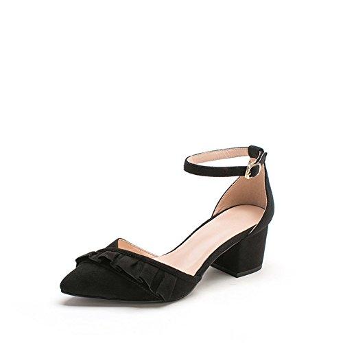 Sandale,Boucle DUn Mot avec des Chaussures Pointues, avec des Chaussures Talons Chunky B