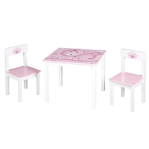 roba Kinder Sitzgruppe 'Krone', Kindermöbel Set aus 2 Kinderstühlen & 1 Tisch, Sitzgarnitur mit Prinzessin/Schloß/Einhorn Bedruckung in rosa