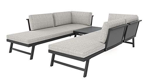 ARTELIA Morino Luxus Loungemöbel Set 5 Personen - Modulares Premium Gartenmöbel Set für Terrasse, Garten und Wintergarten, Terrassenmöbel Anthrazit
