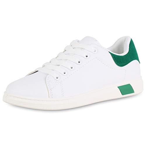 Grün Leder Sneakers (SCARPE VITA Damen Sneaker Low Leder-Optik Turnschuhe Schnürer Freizeit Schuhe 176623 Weiss Grün 38)