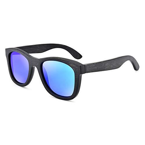 Männer Frauen Square Frame Retro polarisierte Sonnenbrille handgefertigte Bambus Holz Gläser Brille (Color : Blau, Size : Kostenlos)
