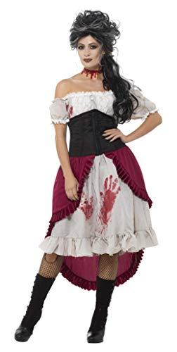 Smiffys Damen Viktorianische Messerstecherin Kostüm, Kleid, Korsett und Überrock, Größe: 44-46, 48021