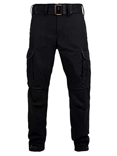 John Doe Regular Cargo - Schwarz   Motorradhose mit Kevlar   Einsetzbare Protektoren   Atmungsaktiv   Motorrad Cargo Hose   Hose mit Seitentaschen
