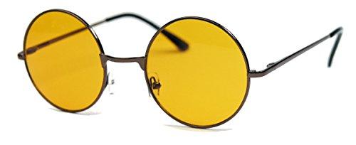 runde Retro Sonnenbrille im Lennon Stil Metallrahmen Nickelbrille Klassiker im 60er 70er Jahre Vintage Look - viele Farben LNS (Copper / Orange)
