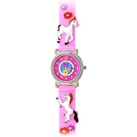 Playful ponis (rosa)–Gone Bananas Niñas 'reloj w/dibujos animados flores–impermeable–seguro para el baño, ducha y piscina–para niños tiempo maestro