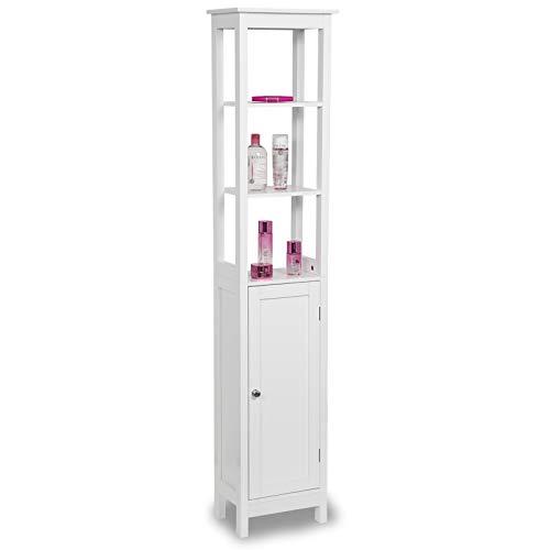 Eugad 0121wy mobile a colonna per bagno mobiletto bianco alto armadietto angolo salvaspazio in legno