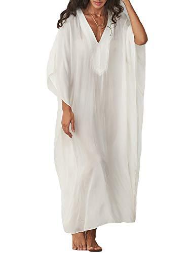 MeiLing Damen Kaftan Nachthemd lang Caftans Strand Maxikleid Bikini Badeanzug Badeanzug - Weiß - Einheitsgröße - White Print Kaftan