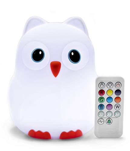 Juneta Goodnight Owl - Lámpara de noche para niños y bebés (9 colores), silicona sin BPA, batería recargable, 5 niveles de brillo, temporizador de apagado automático + mando a distancia