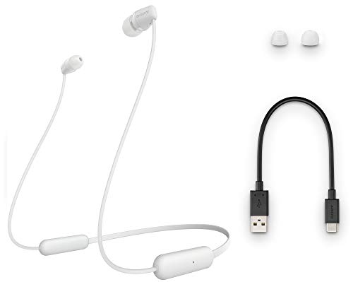 Sony WI-C200 Wireless Bluetooth in-Ear Headphones with Mic, 15 Hours Battery Life, Quick Cost, Magnetic Earbuds, Tangle Free Cord and with 1 Year Warranty - White Image 5