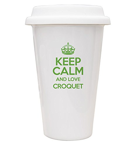 Grün Keep Calm und Love Krocket Eco Tasse TXT 1171