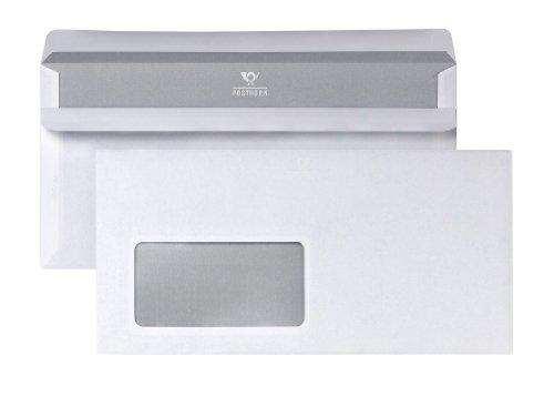 POSTHORN 02220617 Briefumschlag DIN lang (110×220 mm), 75g weiß, mit Fenster, selbstklebend, 100 Stück