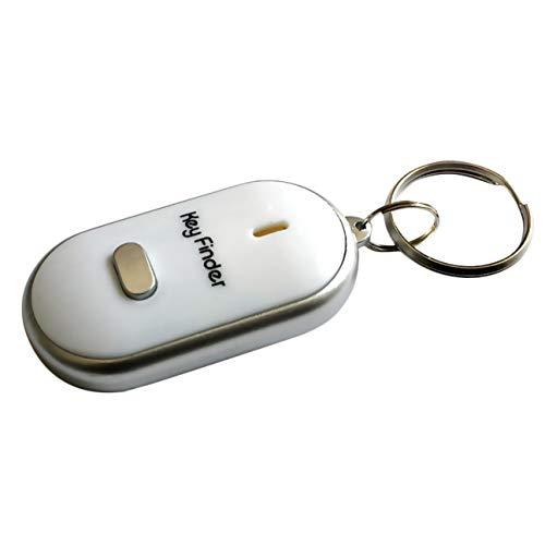 Anti-Perdu Key Finder Intelligent Trouver Localisateur De Porte-clés Sifflet Bip Contrôle Du Son LED Lampe Torche Portable Clé De Voiture Finder blanc