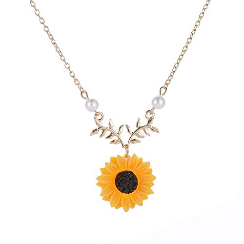 Hffan Damen Mädchen Vergoldung Versilberung Legierung Sonnenblume Zweig Halskette mit Perle Schmuck Ohrstecker Kette Gold Silber (Gold)