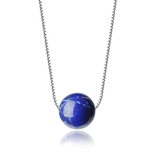 COAI Geschenkideen Lapislazuli Perle Anhänger Geburtssteinkette Silver Platinum-Plated Halskette für Frauen Damen