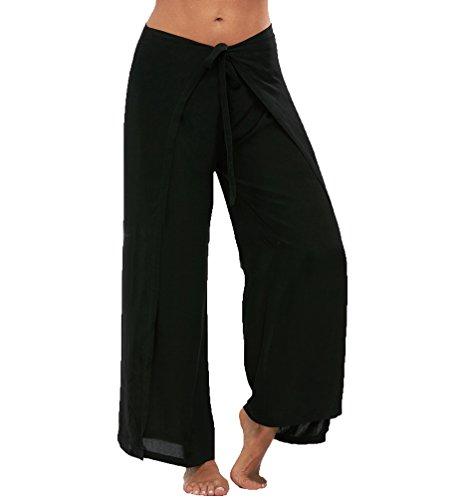 ZhiYuanAN Donna Sexy Ampi Pantaloni Tinta Unita Ampi Split Pants Casual Baggy Pantaloni A Palazzo Eleganti Larghi Fluidi Harem Pantaloni Nero