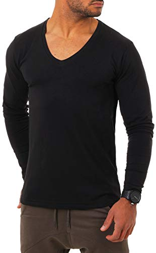 Young & Rich Herren Langarm Shirt mit tiefem V-Ausschnitt deep v-Neck Longsleeve Slim fit Stretch 2239, Grösse:M, Farbe:Schwarz - Long Sleeve V-neck-shirt