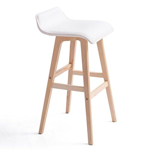 Guo shop- Minimaliste, bois massif, cuir artificiel coussin bar réception européenne chaise en bois banc Vintage Tabouret de bar hauteur 65cm, et 74cm Bonne chaise
