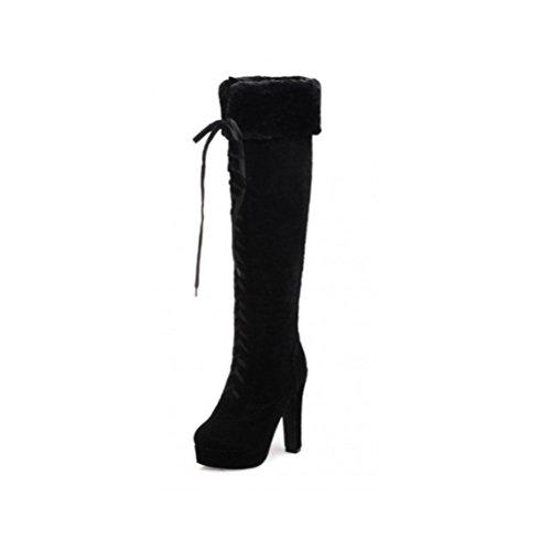 QPYC Stivali alti da donna Stivali alti impermeabili Stivali alti Sabbia sottile gambe lunghe Stivali a spessore fondo Heavy Knight Stivali Stivali Donna Big Code black