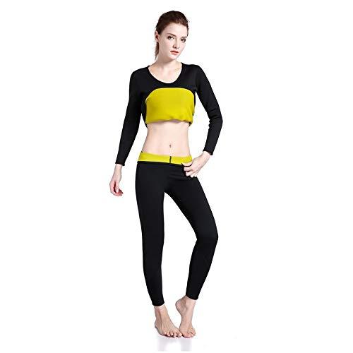 WEIHAN Comfortable Women Super Stretch Neoprene Rubber Stretch Pants Ladies Bodyshape Shaper Slim Capris Trouser Pant(Black & Yellow XXL) -