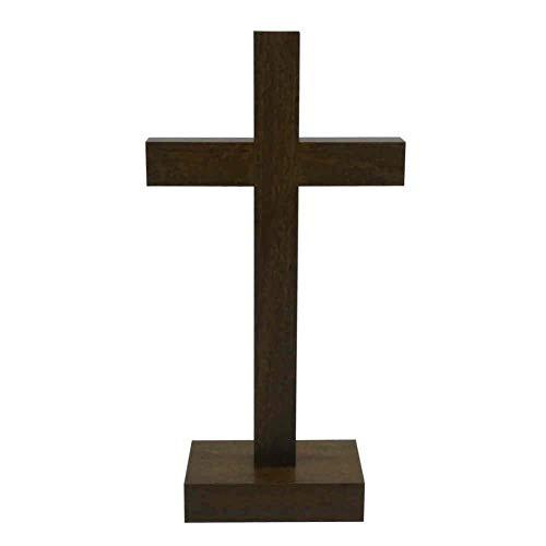 kruzifix24 Stehkreuz Standkreuz Buchenholz braun gebeizt ohne Körper 20,5 x 10,5 cm Altarkreuz für Zuhause Pflegeheim Unterwegs - Sterbekreuz für Hospitz Handarbeit