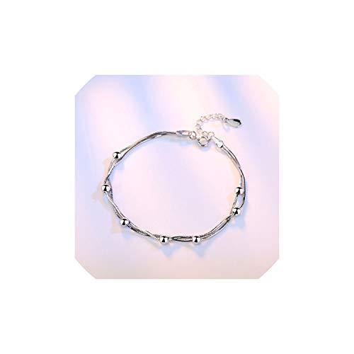 YearningH Elegante Kettenarmband-Silber-Farben-Korn-Sterne-Charme-Armband für Frauen Schlange Verbindungs-Kettenarmband,F6791 -