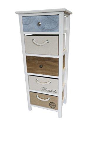 elbmöbel Kommode 91x38x28cm Schrank mit Schubladen bunt Landhaus Shabby Chic Vintage Weiß Körbe, Größe:Groß