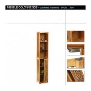 Tendance Maison Mueble Columna de Cuarto de baño en bambú