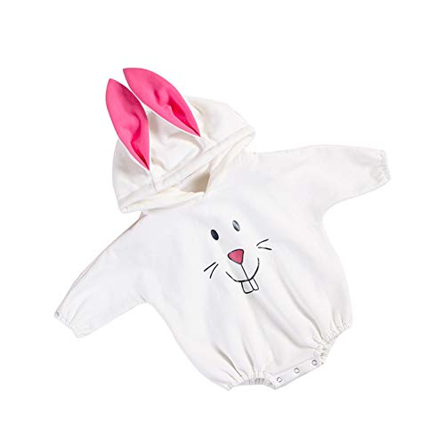 LENGIMA Infant Baby Herbst Bodysuit Cartoon Bunny Muster Spielanzug Plüsch 3D Kleidung Size 73 (White) Bunny Infant Bodysuit