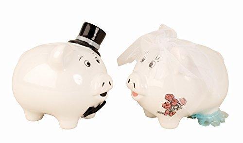 Boda Cerdito hucha Caja de dinero en set de 2 cerámicas altura 12+14 cm de largo 14 cm
