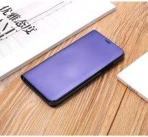 Meimeiwu Clear View Flip Custodia Cover con Funzione Kickstand [Sleep/Wake Funzione] Ultra-Sottile Specchio Traslucido Smart Cover per iPhone 8 - Argento Porpora